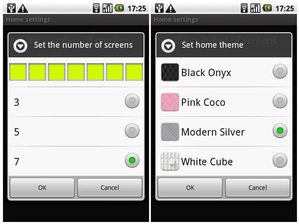 スクリーン枚数やホーム画面のテーマを変更することができる