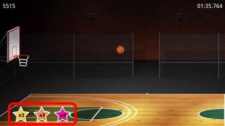 BasketBall:連続してゴールを決めるとポイント倍増