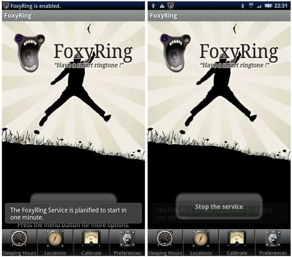 FoxyRing: Smart Ringtone:「Start the service」のタップでサービス開始