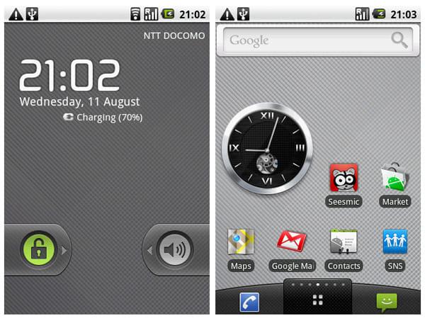 Android OS 2.1のようなデザインだが、OSバージョンは1.6