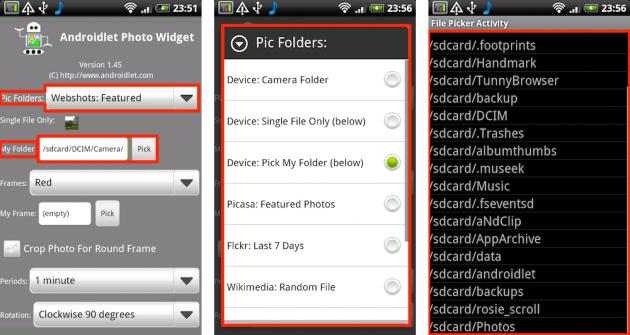 Androidlet Photo Widget: 端末内の写真や画像から有名サービスの写真まで、選択の幅は広いです。