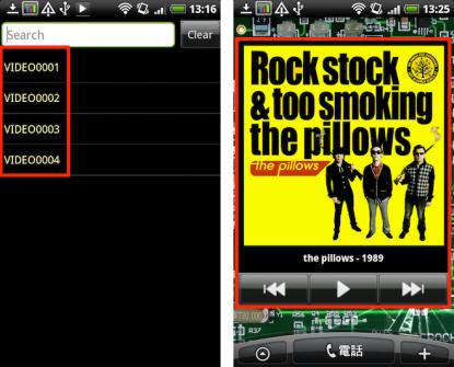MixZing Media Player: (左)「Videos」の表示画面、(右)ウィジェットを設置したホーム画面