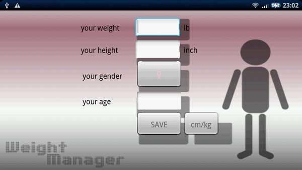 体重管理くん:SAVEの隣にあるcm/kgをタップするとcm/kgに。また、inch/lb表記をタップするとinch/lbに自動計算で変更される