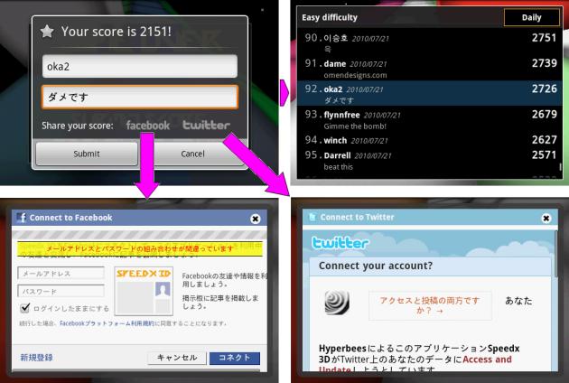Speedx 3D: スコアの登録