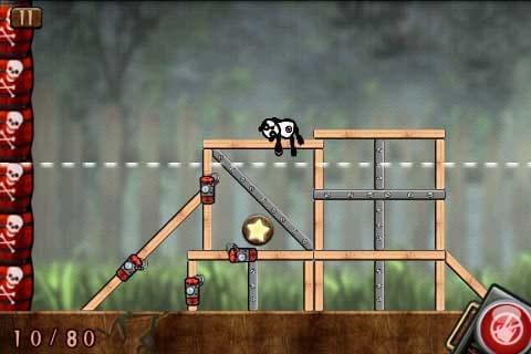 Blow Up:樽に破片が触れるとゲームオーバーになるので注意!