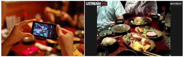 Ustream Broadcaster:飲み会撮影中!(左) ちょっとだけ見せちゃいます(静止画)(右)