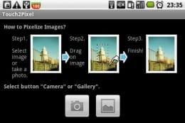 Touch2Pixel:起動画面に簡単な操作説明が記載されている