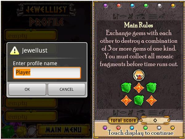 Jewellust:プレイヤー名の登録をしよう(左)「PLAY CAMPAIGN」のルール説明(右)
