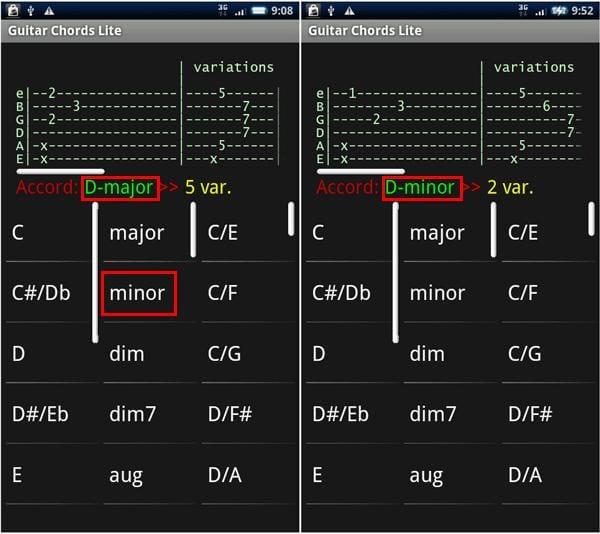 Guitar Chords Lite:タップしたコードを表示。左列のみをタップした場合(左)、中央のみをタップした場合(右)