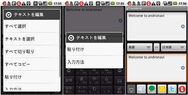 gTranslator:コピー時のテキストを編集画面(左)貼付時のテキストを編集画面(中)下のボックスに貼付(右)