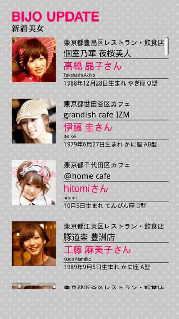 美女地図東京版(Xperia 版):新しく加わった美女は画面トップにきます