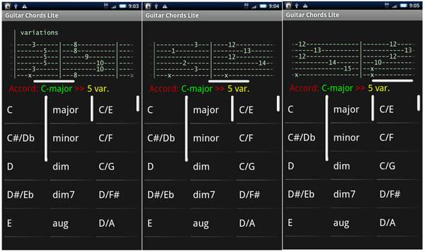 Guitar Chords Lite:ポジションバリエーションもバッチリチェックできます