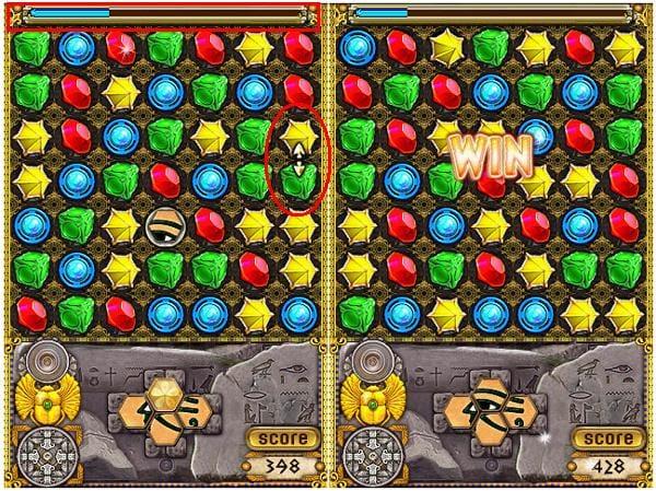 Jewellust:行き詰まった時はヒントが出る(左)4つのかけらを集めてパズルを完成させると1面クリア(右)