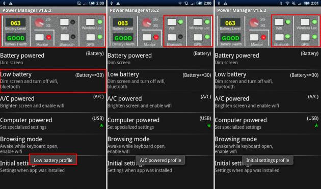 Power Manager Full: 画面上部のボタンが光っている機能がONになっているものです