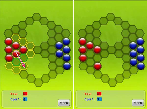 Pobs:黄色の枠(緑色の枠に隣接した場所)へは選択したPobをジャンプさせられる