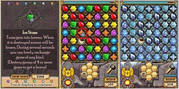 Jewellust:アイテム[IceStone](左)氷のマークがついた宝石(中)を消すと一定時間移動し放題に(右)