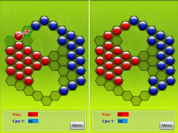 Pobs:赤色のPobを青色Pobの隣に置く(左) 隣り合ったPobが青→赤に変わる!(右)
