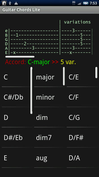 Guitar Chords Lite:知りたいコードをタップ