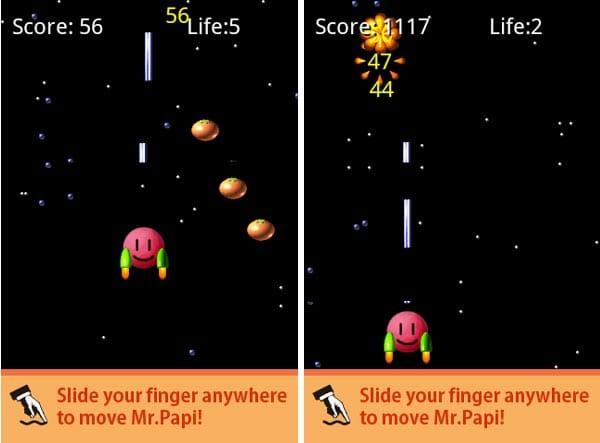 PapiOrange:ゲーム画面。左上に得点、右上にLIFEが表示