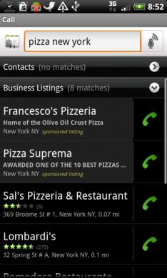 図4. Vlingo: Words to Action ニューヨークのピザ屋検索