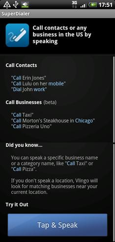 図3. Vlingo: Words to Action 電話をかける