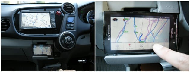 NAVITIME ドライブサポーター:端末の上にあるのは、標準搭載のカーナビ(左)いよいよドライブ開始(右)