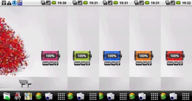 BatteryLife: デフォルトの5色を設定するとこんな感じになる