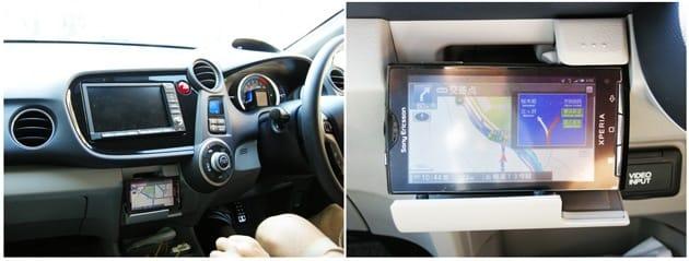 NAVITIME ドライブサポーター:運転しながらでも十分認識可能な画面(左)交差点等では、ルートを拡大表示(右)