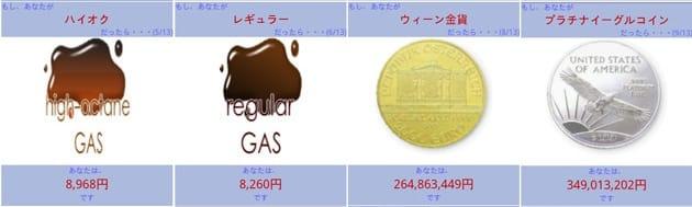 メカタイクラ?:左から ハイオク、レギュラー、ウィーン金貨、プラチナイーグルコイン