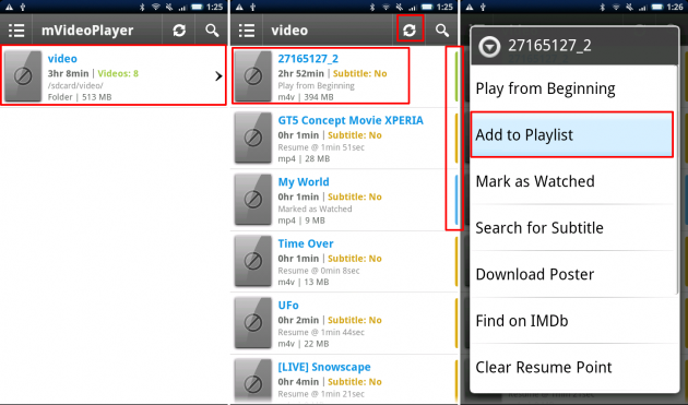 mVideoPlayer: 色分けによって、どのビデオが視聴済なのか等が一目で分かります。