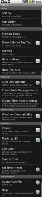 Note Me:「Setting」一覧画面