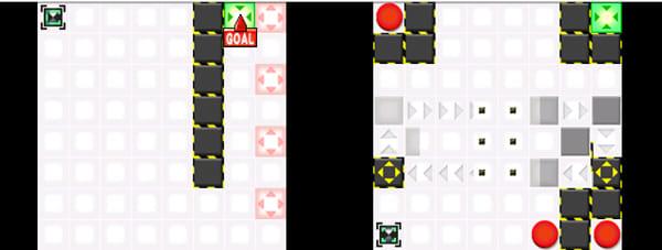 ヌケミチライト:ピンクのゾーン近くは移動しにくい(左)赤丸のゾーンを通ると、壁の位置が変化する(右)