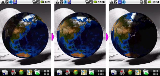 TerraTime: 地球儀ウィジェットで地球の運行を管理。左から8時半、12時、18時半の状態だ。