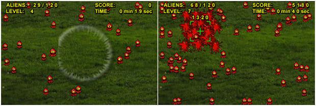 衝撃波で火星人を吹き飛ばし(左)エアプレスで火星人をつぶす(右)