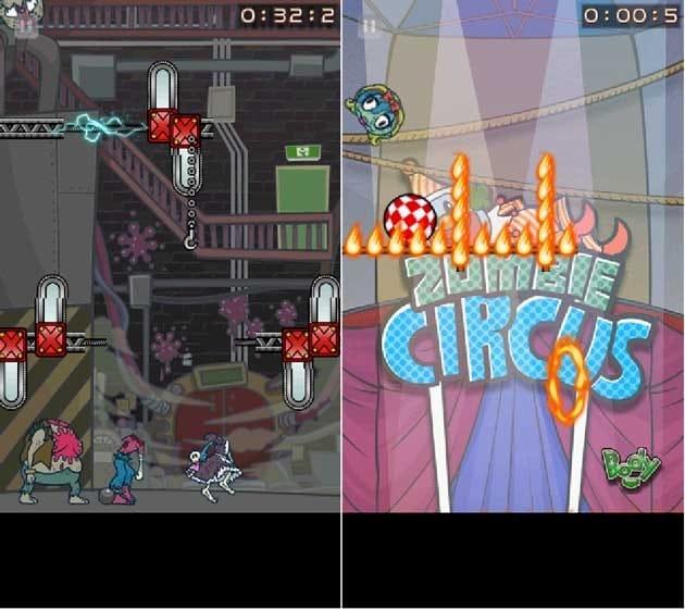 Zombie Recycling Inc.:Rotten Red:大量チェーンソーをかいくぐって、正しい身体に頭を付けろ!(左)玉乗りをしつつ炎をかいくぐれ!(右)
