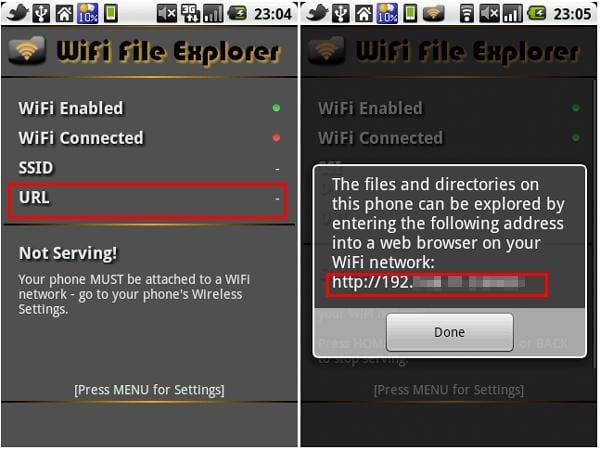 WiFi File Explorer:Wi-Fi接続確認後、IPアドレスがポップアップで表示される。接続が完了すると、URLにIPアドレスが表示される