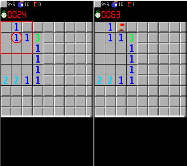 マインスイーパー 日本語版:マスをめくると出る数字から地雷マスを推理(左)地雷があると推理できるマスに旗を立てよう(右)