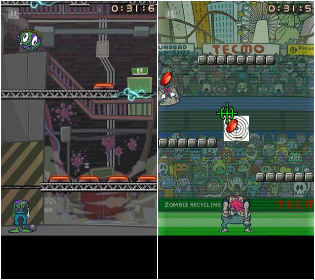 Zombie Recycling Inc.:Moldy Green:床に電流の流れるステージ。ボタンを押せば電流を止められる(左)クレー射撃の的にされないよう、照準をうまく潜り抜けて胴体を目指そう(右)