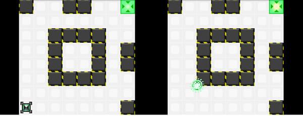 ヌケミチライト:ステージ1プレイ画面(左)壁に当たるとコアが消える!やり直し(右)