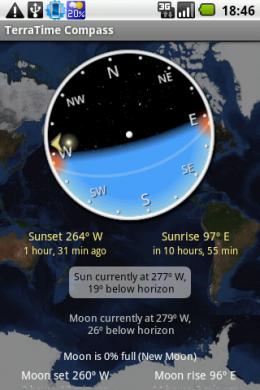 TerraTime: コンパスで太陽と月の昇り沈みする方向を確認できる。