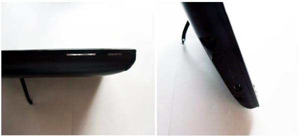 本体上側には電源スイッチとボリューム、本体左側は上からイヤホン端子、miniUSB、充電コネクタを配置