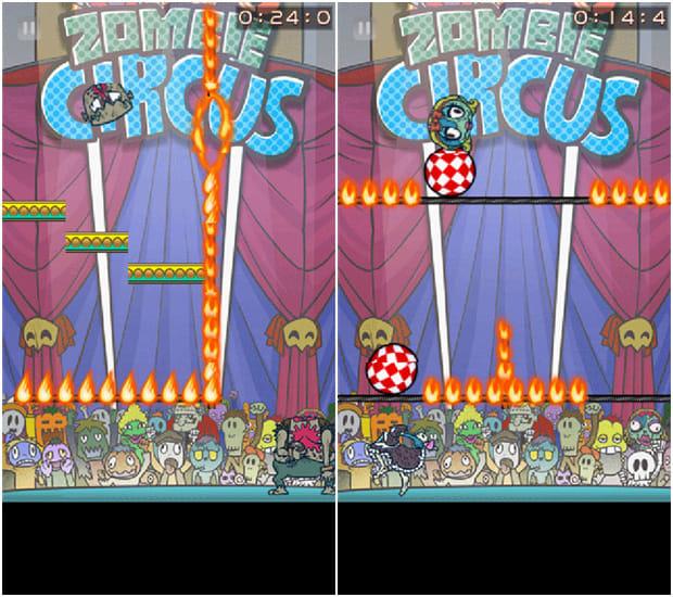 Zombie Recycling Inc.:Moldy Green:踏み切り位置を考えて、火の輪のわずかな隙間をくぐらせろ(左)炎の床を玉乗りでしのげ!(右)