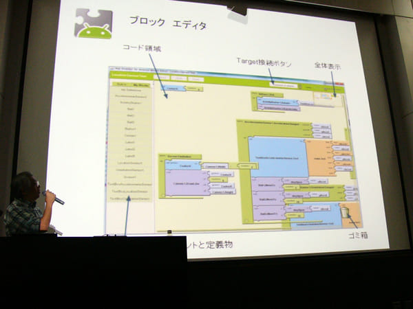 「App Inventor」のブロック画像。これを配置しアプリを作成する