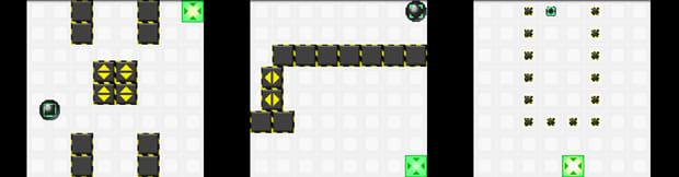 ヌケミチライト:左からステージ2、ステージ3、ステージ4プレイ画面