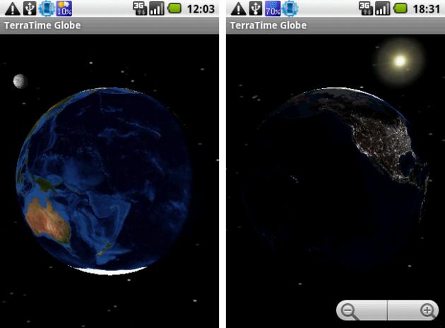 TerraTime: 地球儀アプリだと月や太陽も表示できる。(左が月で、右が太陽)