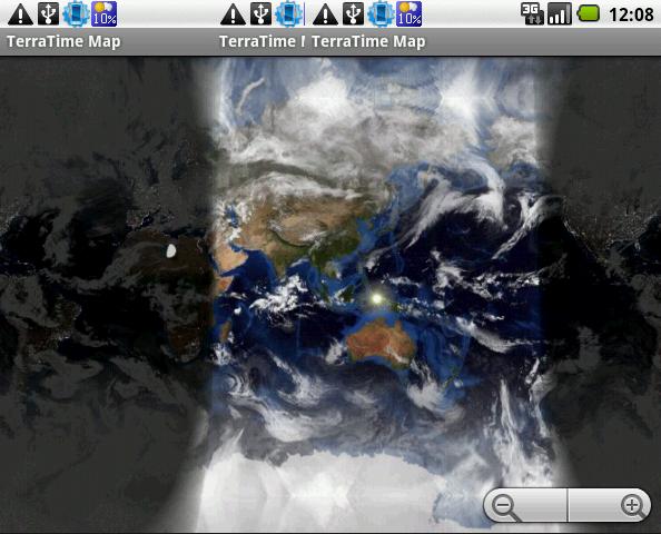 TerraTime: 地図アプリ(これは3枚の画面を合成したもの)