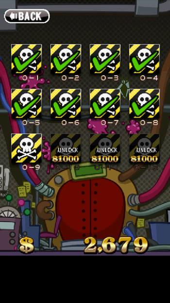 Zombie Recycling Inc.:Moldy Green:「キャンペーン」モードでどうしてもクリアできないステージは、表示された金額を支払えばアンロックできる