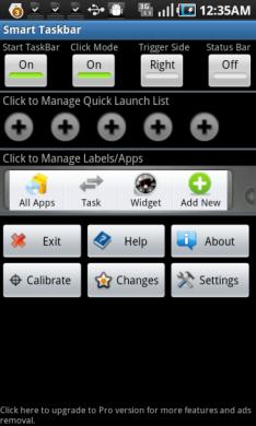 Smart Taskbar (sidebar):設定画面