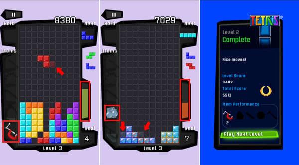 Tetris®:「Minimizer」で落ちてくるブロックを圧縮(左) 「Bubble Wrap」で邪魔なブロックを弾き飛ばせる(中央) アイテムを上手に使ってスコアを伸ばせ(左)
