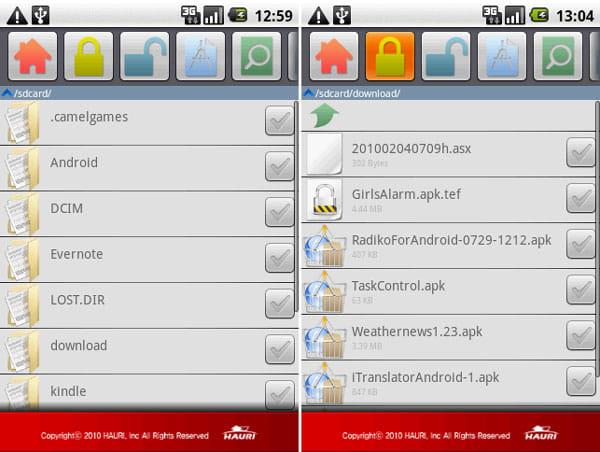 ViRobot Mobile:任意のファイルをチェックして、カギのアイコンをタップ